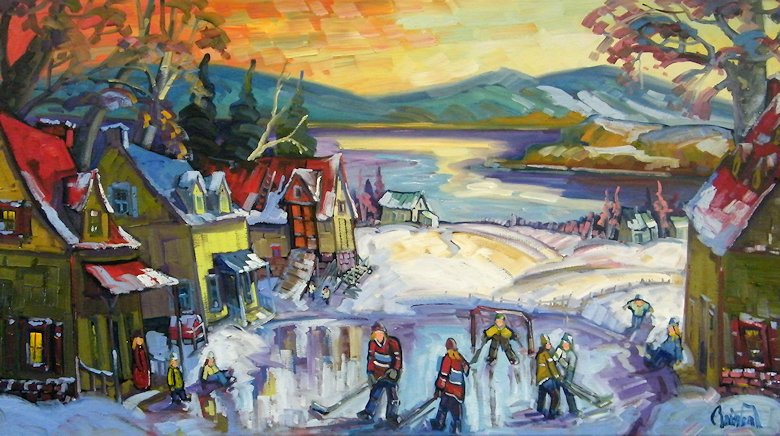 "Image of art work ""Entre amis, la partie de hockey à la Ferme"""