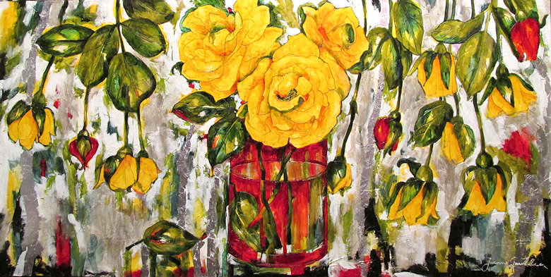 "Image of art work ""Glasswork and Yellow Roses"""