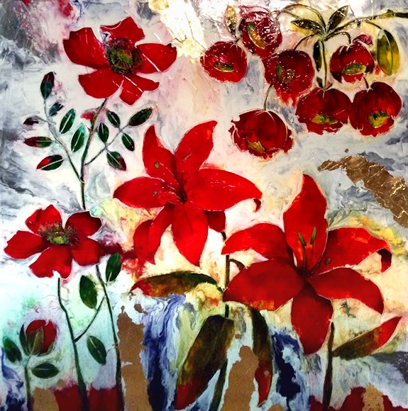 "Image of art work ""The Dancing Red Flowers"""