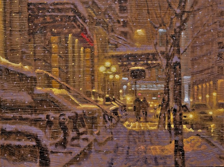 "Image of art work ""Snowy Night in Calgary"""